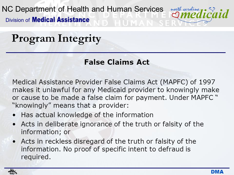 Program Integrity False Claims Act