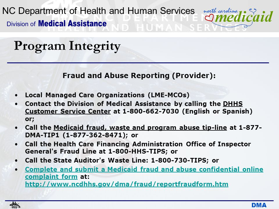 Fraud and Abuse Reporting (Provider):