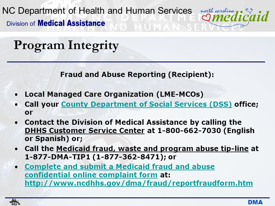 Fraud and Abuse Reporting (Recipient):