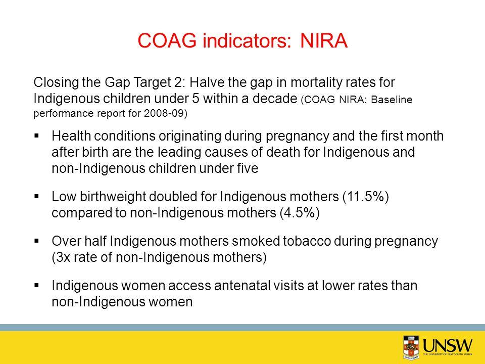 COAG indicators: NIRA