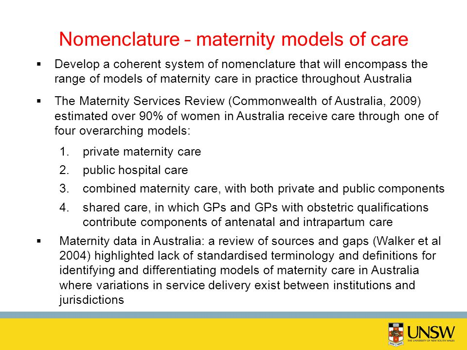 Nomenclature – maternity models of care