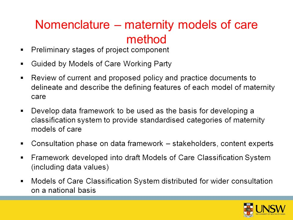 Nomenclature – maternity models of care method