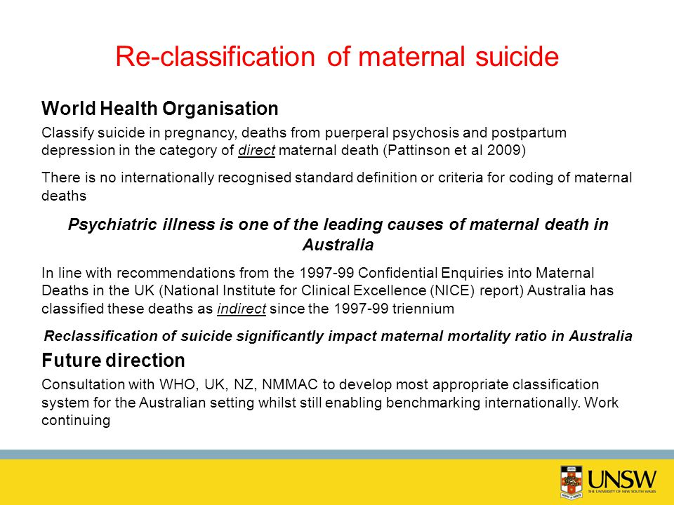 Re-classification of maternal suicide