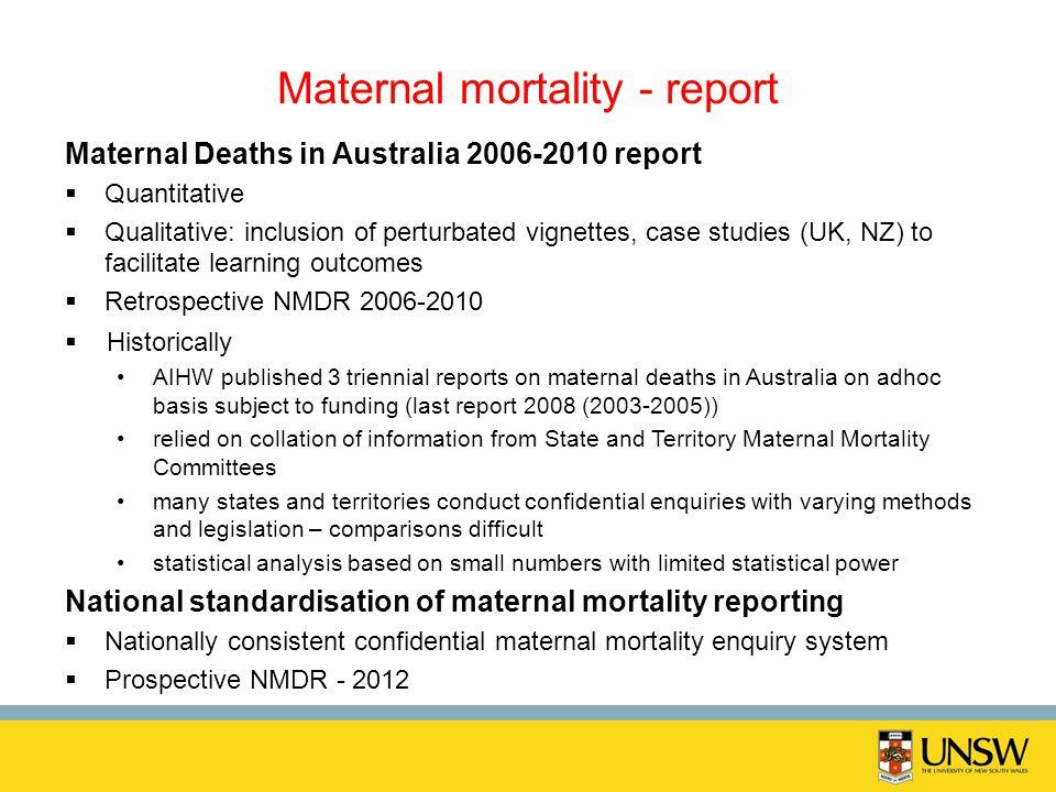 Maternal mortality - report