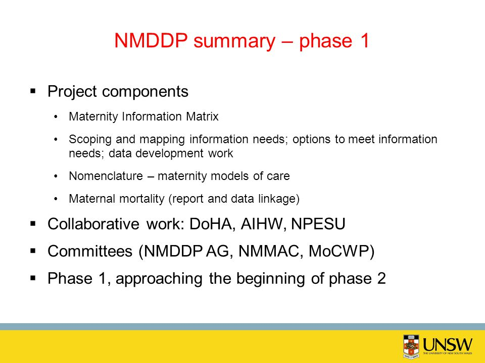NMDDP summary – phase 1 Project components