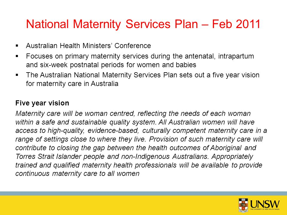 National Maternity Services Plan – Feb 2011