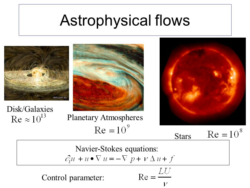 Astrophysical flows Disk/Galaxies Planetary Atmospheres Stars