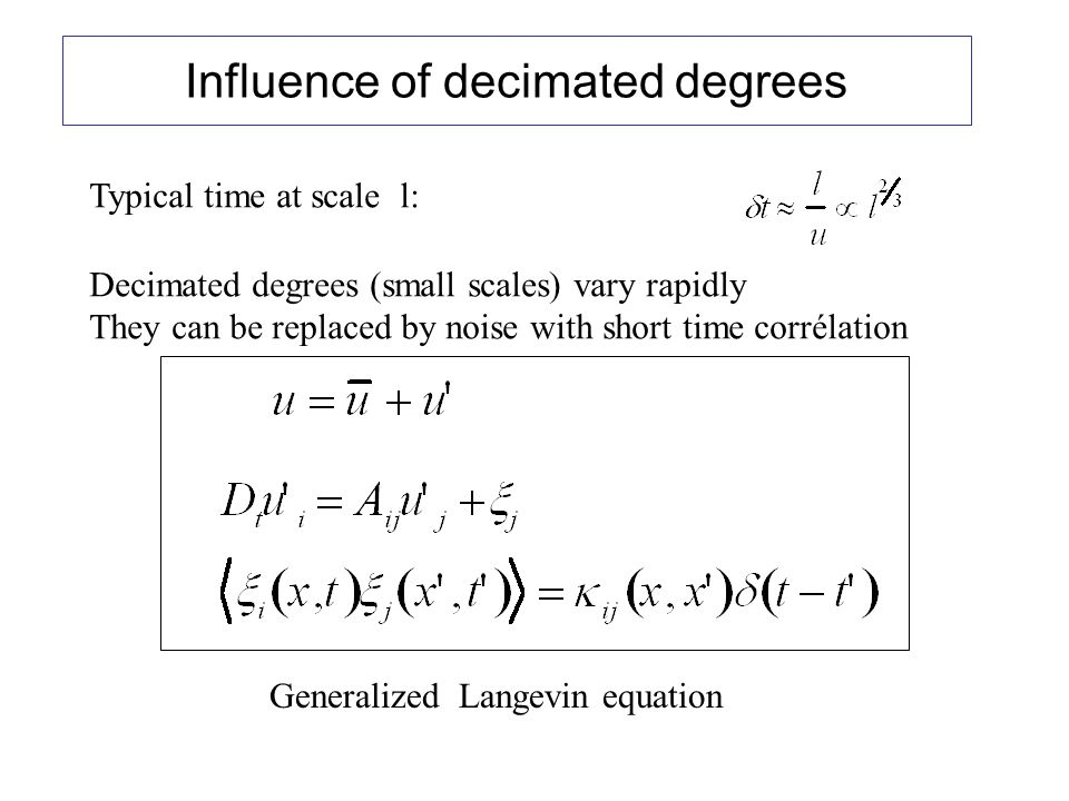 Influence of decimated degrees