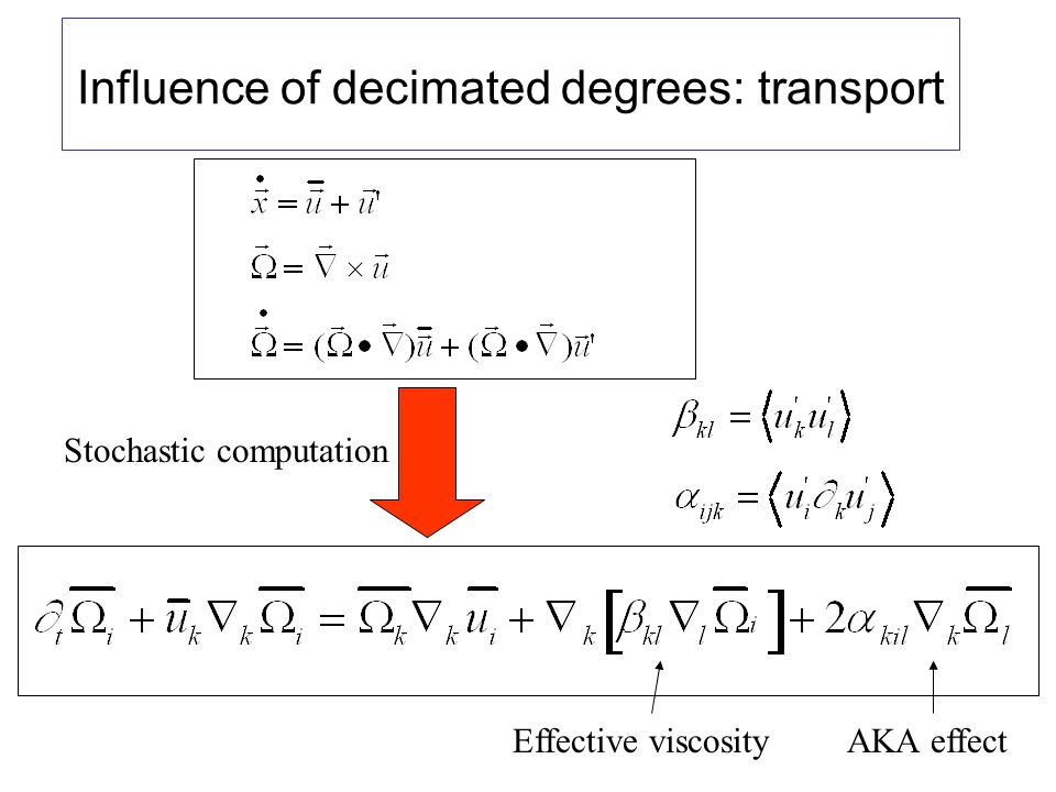 Influence of decimated degrees: transport