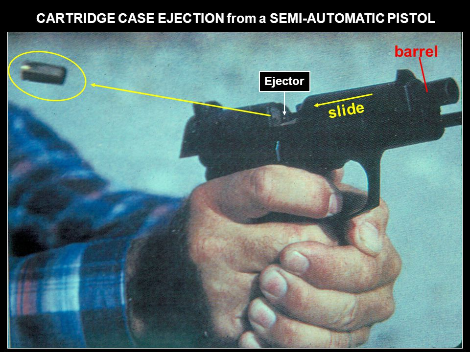 barrel slide CARTRIDGE CASE EJECTION from a SEMI-AUTOMATIC PISTOL