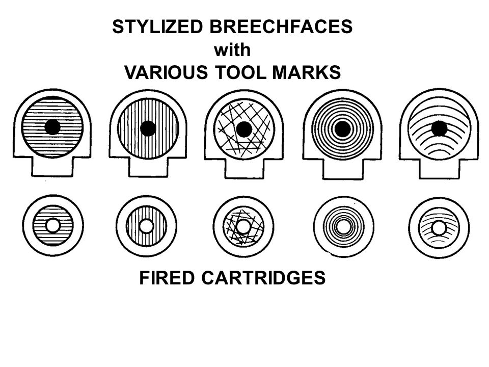 STYLIZED BREECHFACES with VARIOUS TOOL MARKS FIRED CARTRIDGES