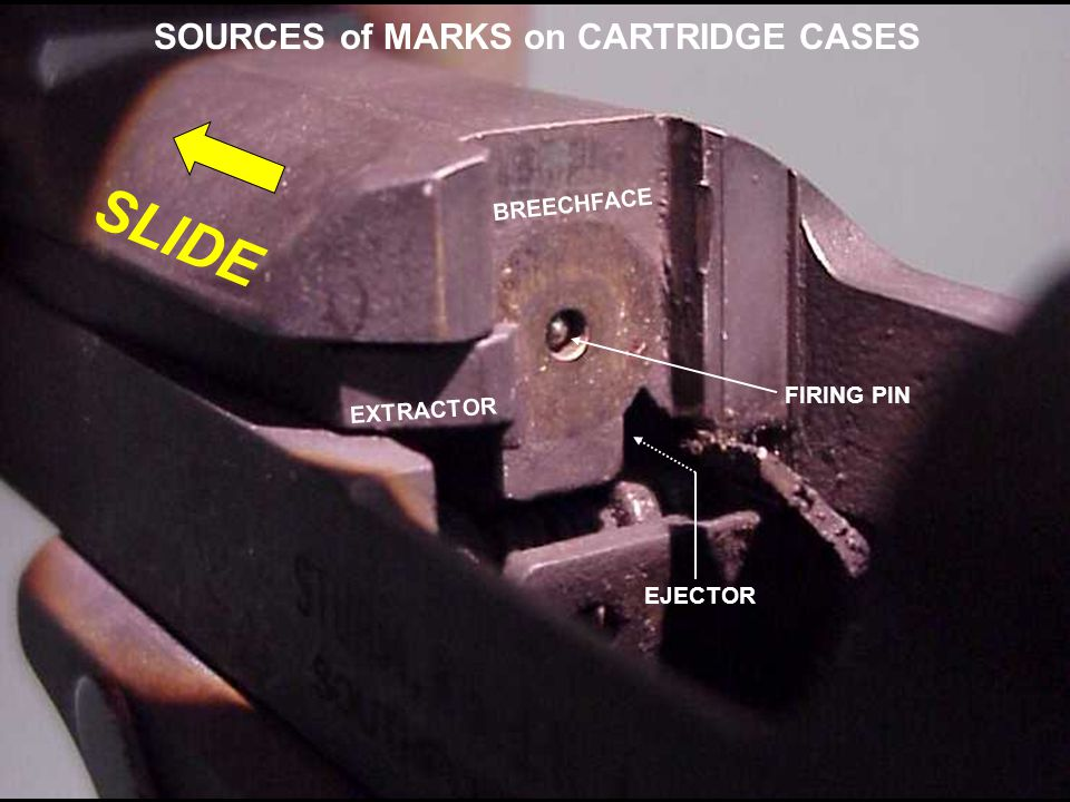 SLIDE SOURCES of MARKS on CARTRIDGE CASES BREECHFACE FIRING PIN