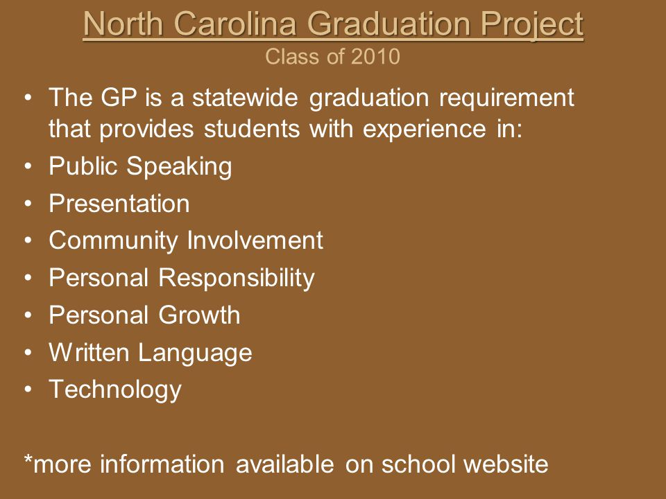 North Carolina Graduation Project Class of 2010
