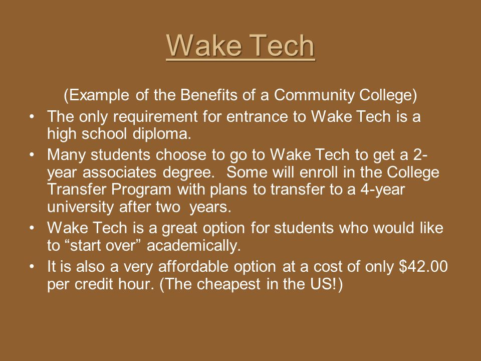 (Example of the Benefits of a Community College)