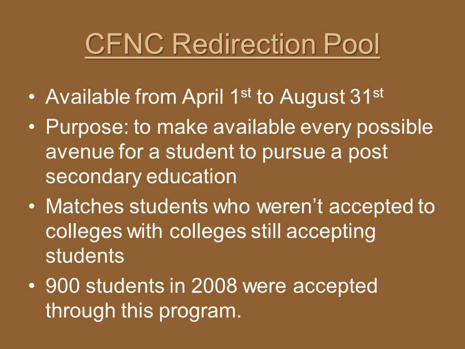CFNC Redirection Pool Available from April 1st to August 31st