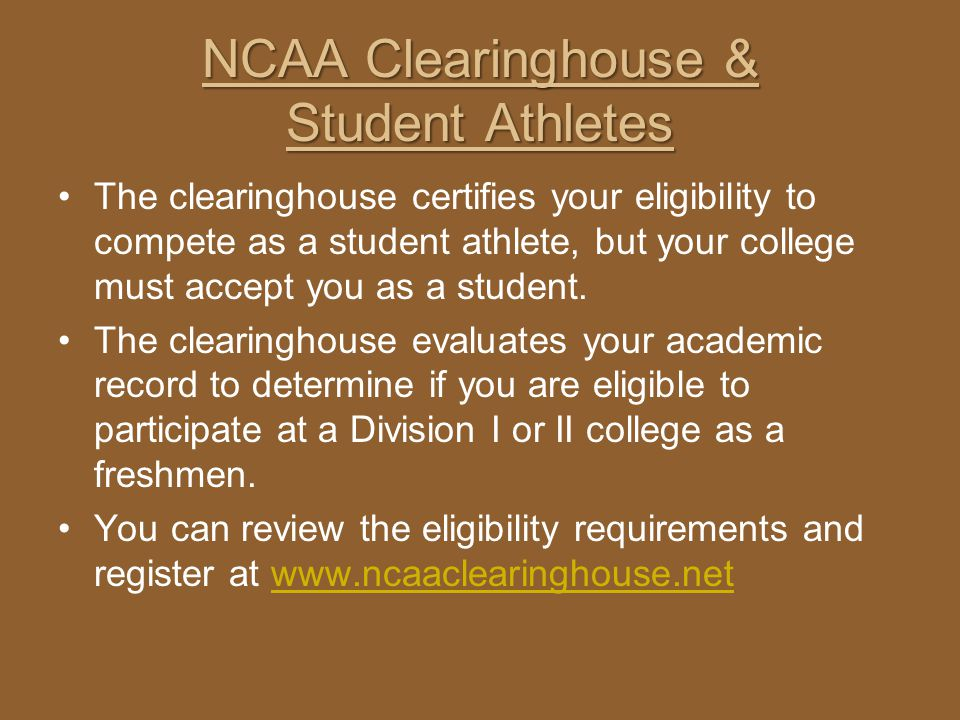 NCAA Clearinghouse & Student Athletes