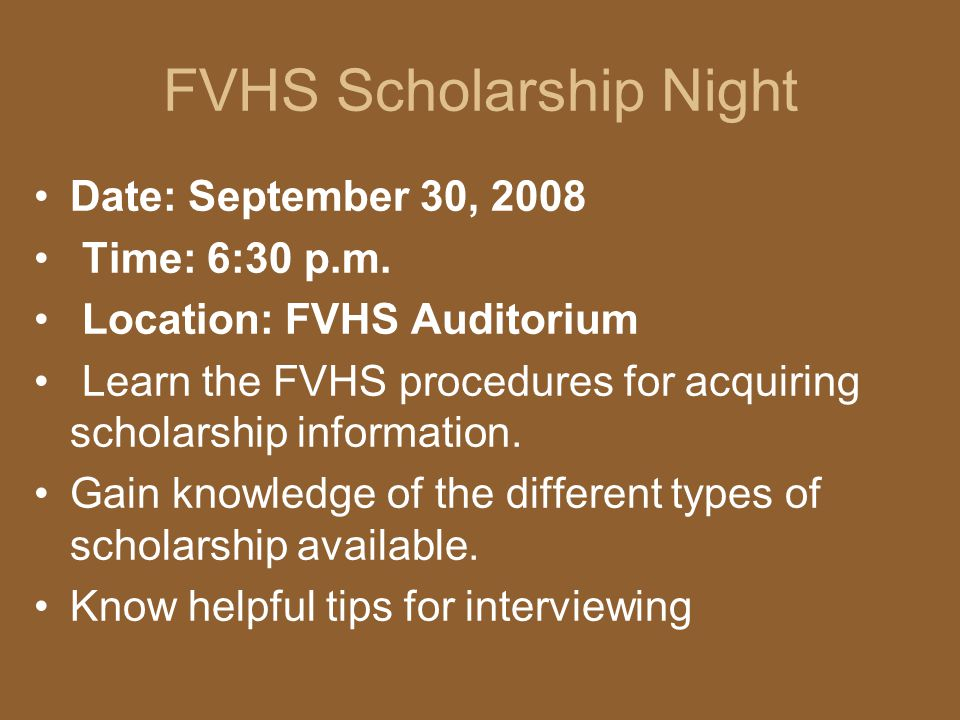 FVHS Scholarship Night