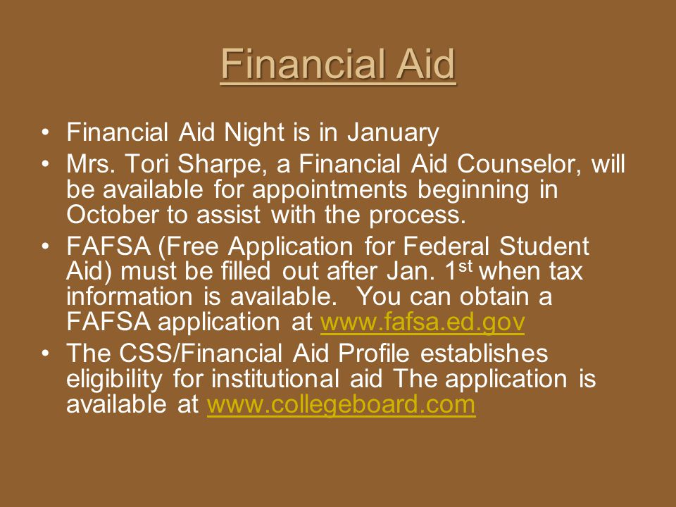 Financial Aid Financial Aid Night is in January