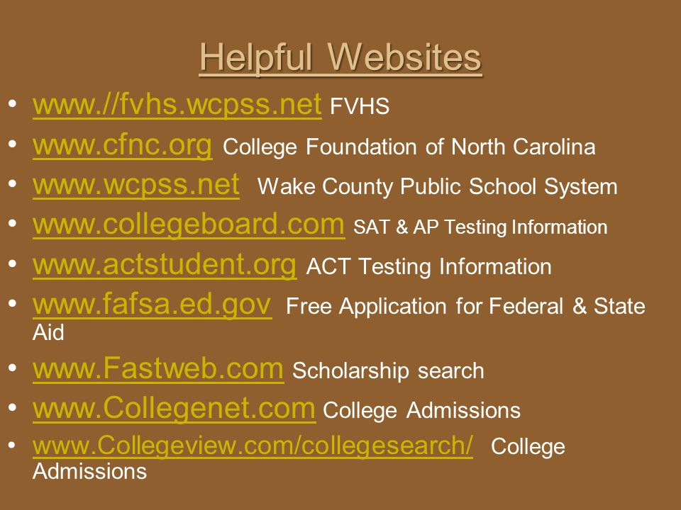 Helpful Websites   FVHS