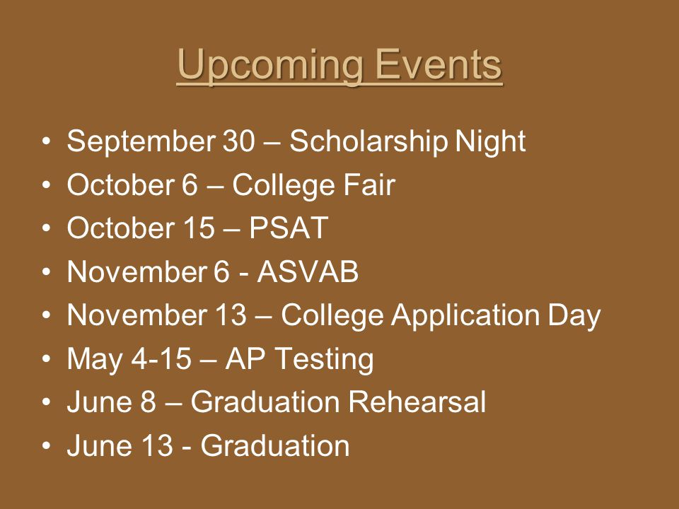 Upcoming Events September 30 – Scholarship Night