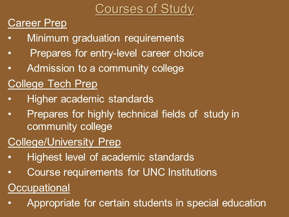 Courses of Study Career Prep College Tech Prep College/University Prep