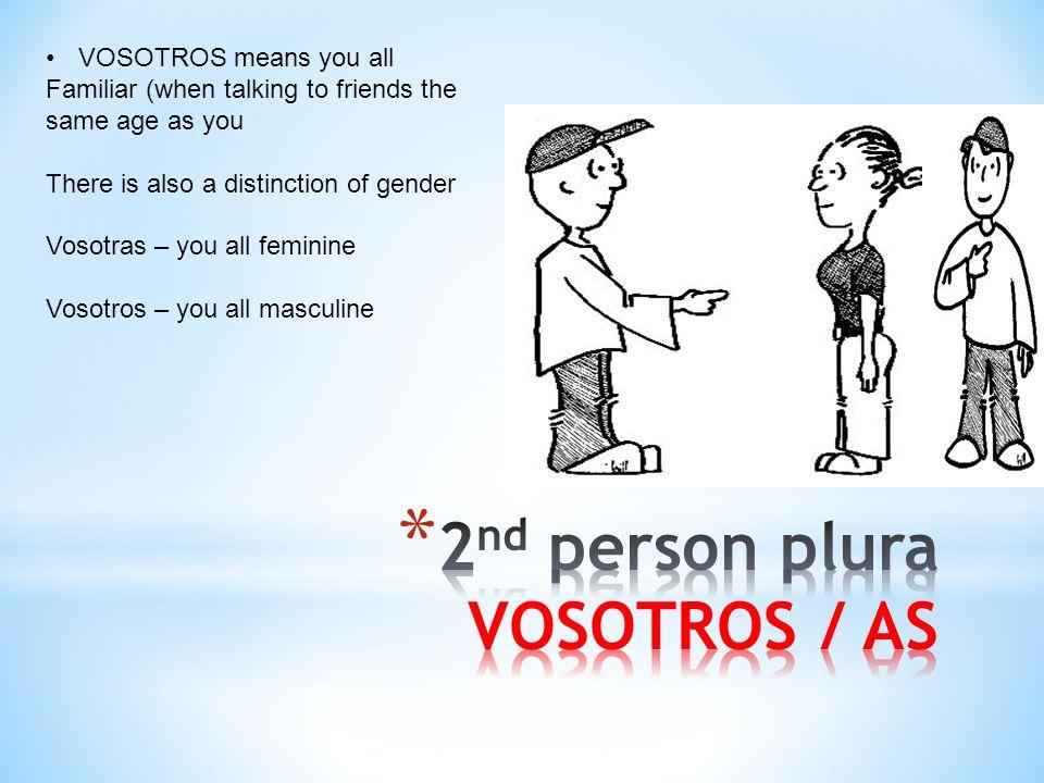 2nd person plura VOSOTROS / AS