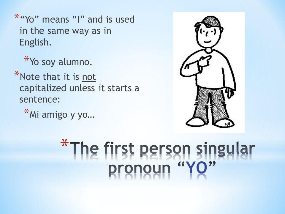 The first person singular pronoun YO