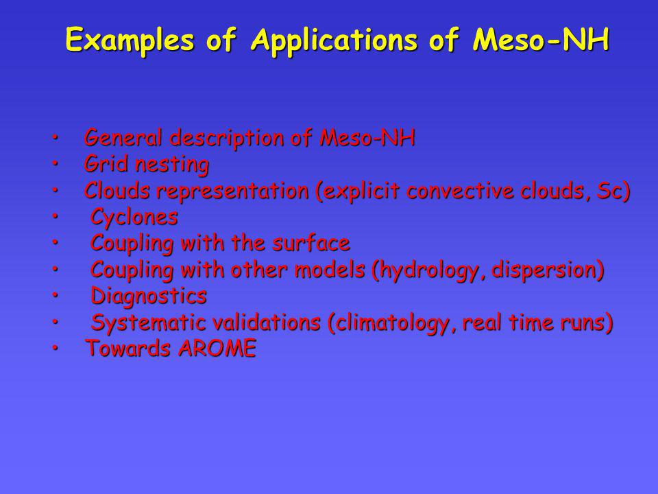 Examples of Applications of Meso-NH