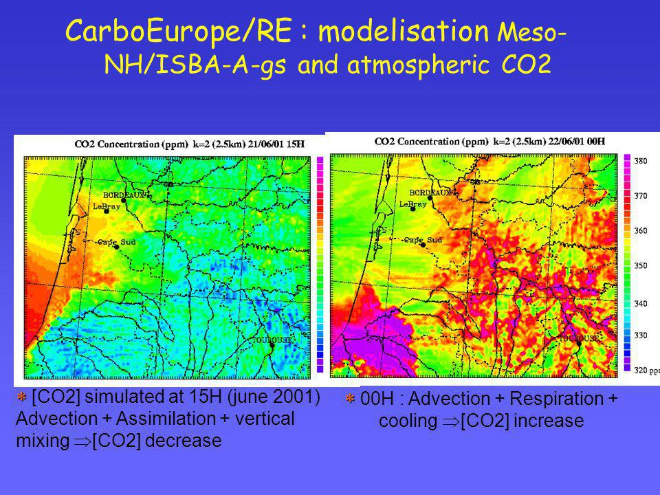 CarboEurope/RE : modelisation Meso-NH/ISBA-A-gs and atmospheric CO2