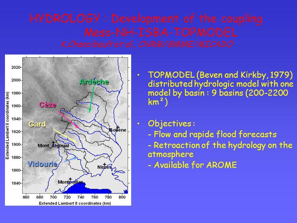 HYDROLOGY : Development of the coupling Meso-NH-ISBA-TOPMODEL