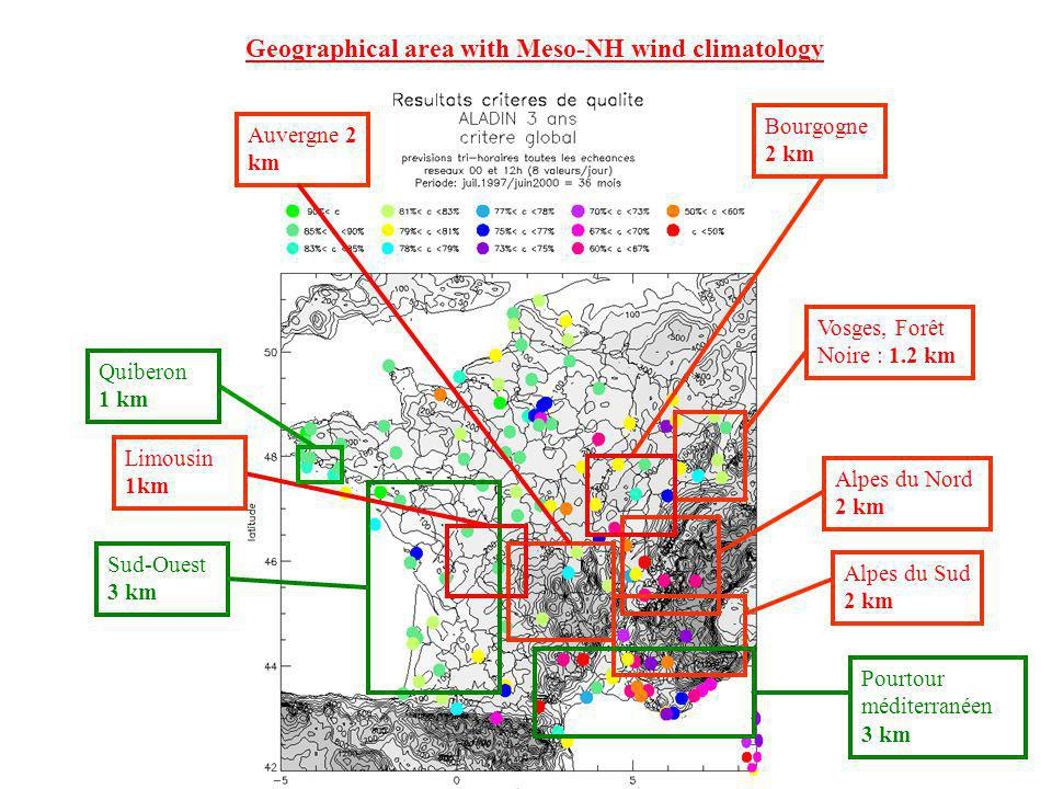 Geographical area with Meso-NH wind climatology