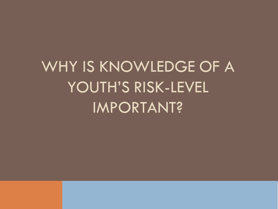 Why Is knowledge of a youth's risk-level Important