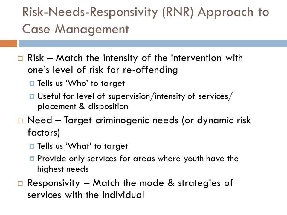 Risk-Needs-Responsivity (RNR) Approach to Case Management