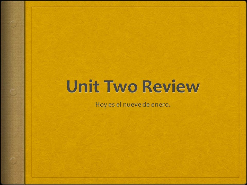 Unit Two Review Hoy es el nueve de enero.