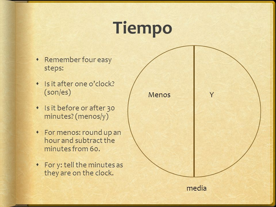 Tiempo Remember four easy steps: Is it after one o'clock (son/es)