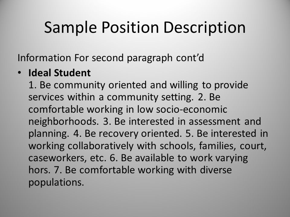Sample Position Description