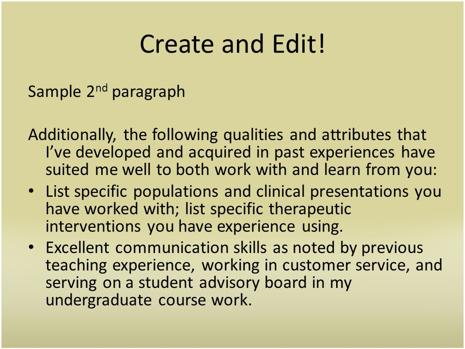 Create and Edit! Sample 2nd paragraph
