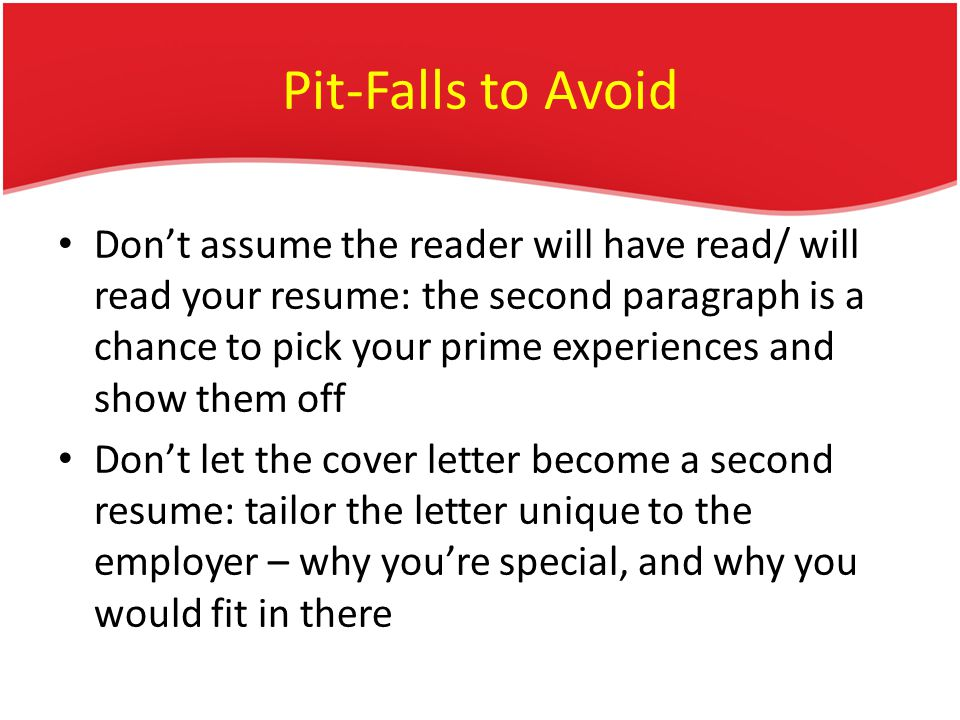 Pit-Falls to Avoid