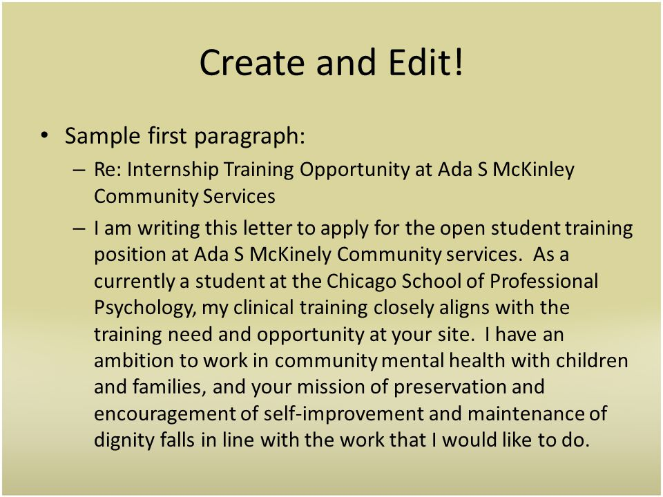 Create and Edit! Sample first paragraph: