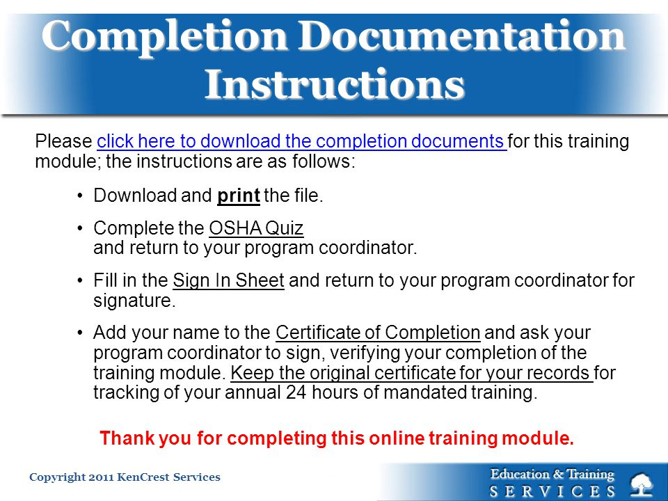 Completion Documentation Instructions