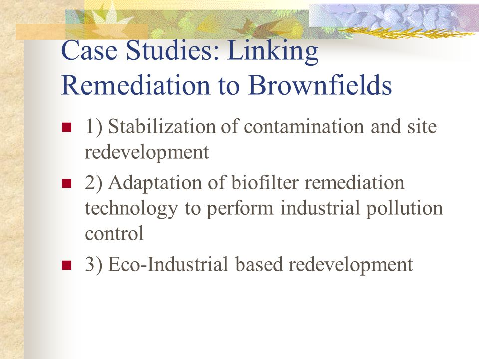 Case Studies: Linking Remediation to Brownfields