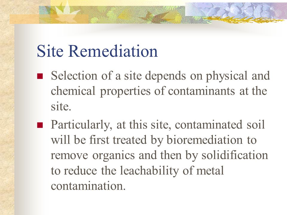 Site Remediation Selection of a site depends on physical and chemical properties of contaminants at the site.