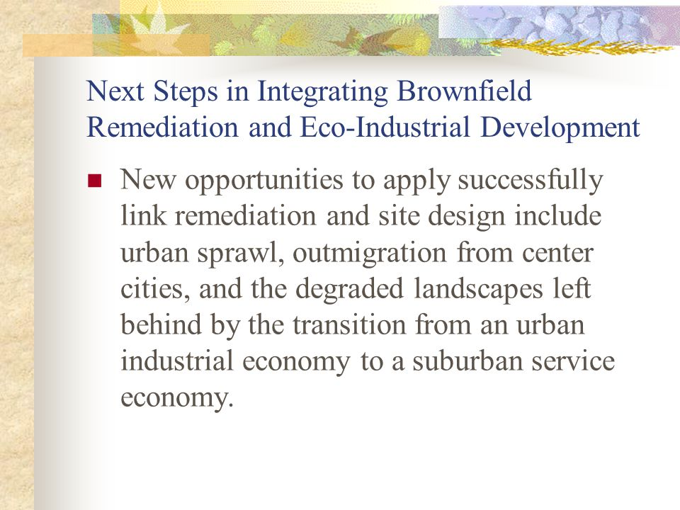 Next Steps in Integrating Brownfield Remediation and Eco-Industrial Development