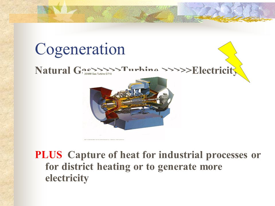 Cogeneration Natural Gas>>>>>Turbine >>>>>Electricity.