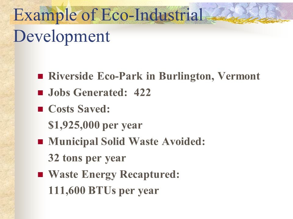 Example of Eco-Industrial Development