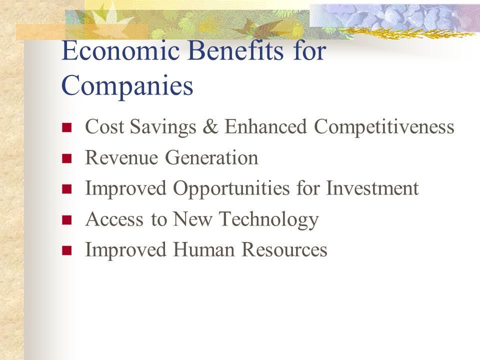 Economic Benefits for Companies