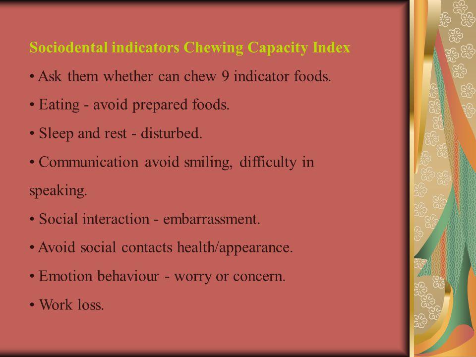 Sociodental indicators Chewing Capacity Index