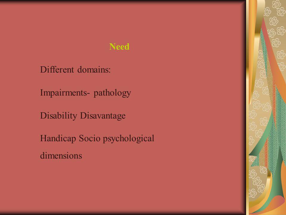 Need Different domains: Impairments- pathology. Disability Disavantage.