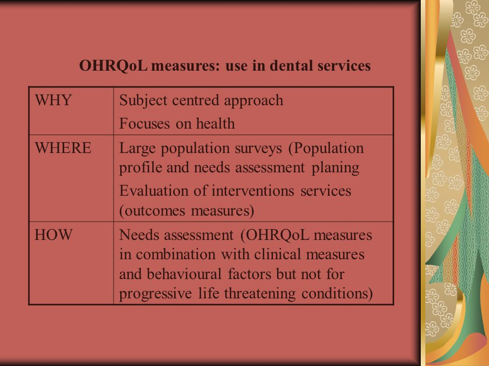 OHRQoL measures: use in dental services