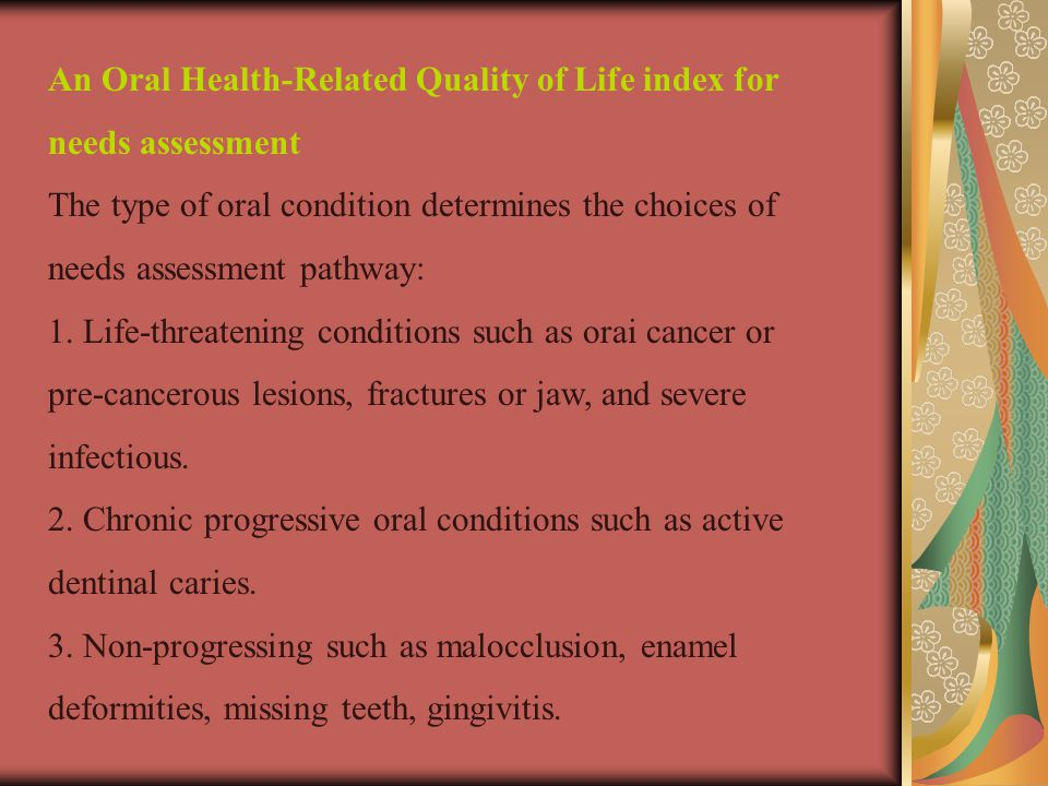 An Oral Health-Related Quality of Life index for needs assessment